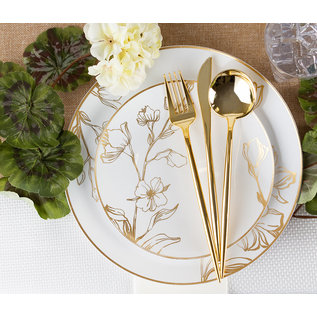Bluesky Disposable Antique Gold Floral Dinner Plates 9 inch 10 Count