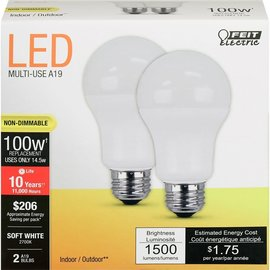 MISC Feit Electric LED Light Bulbs A1600/ 827 / 10K  (Non-Dimmable) - 2 Pack