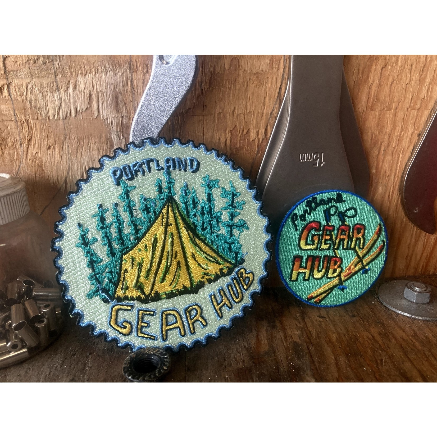 Portland Gear Hub PGH Embroidered Camping Patch, Iron-on, 4'' Circle