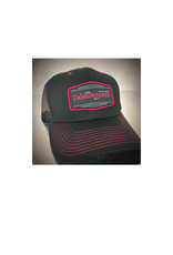 Fairgrounds St. Pete Hat - Logo 6 Panel Black Mesh with Pink stitching [FG]
