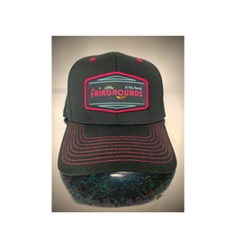 Fairgrounds St. Pete Hat- Logo 6 panel Black with metal closure and Pink stitching [FG]