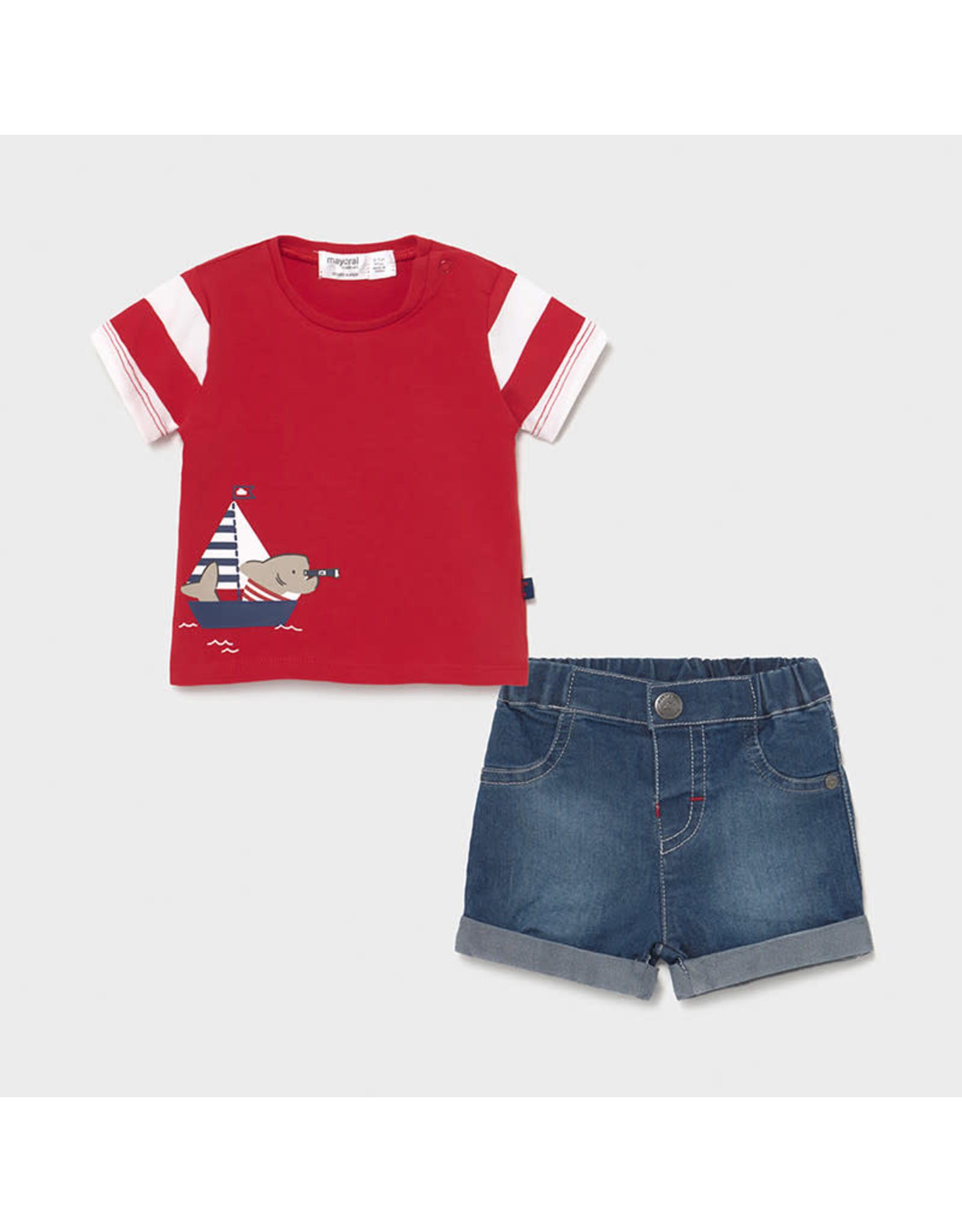 Mayoral Denim shorts set