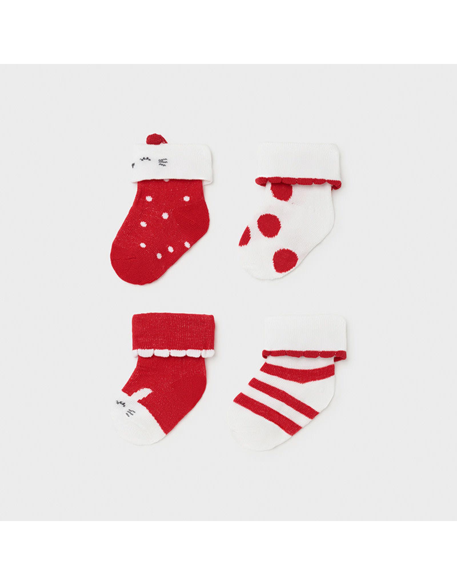 Mayoral 4 Piece Set Socks - Red