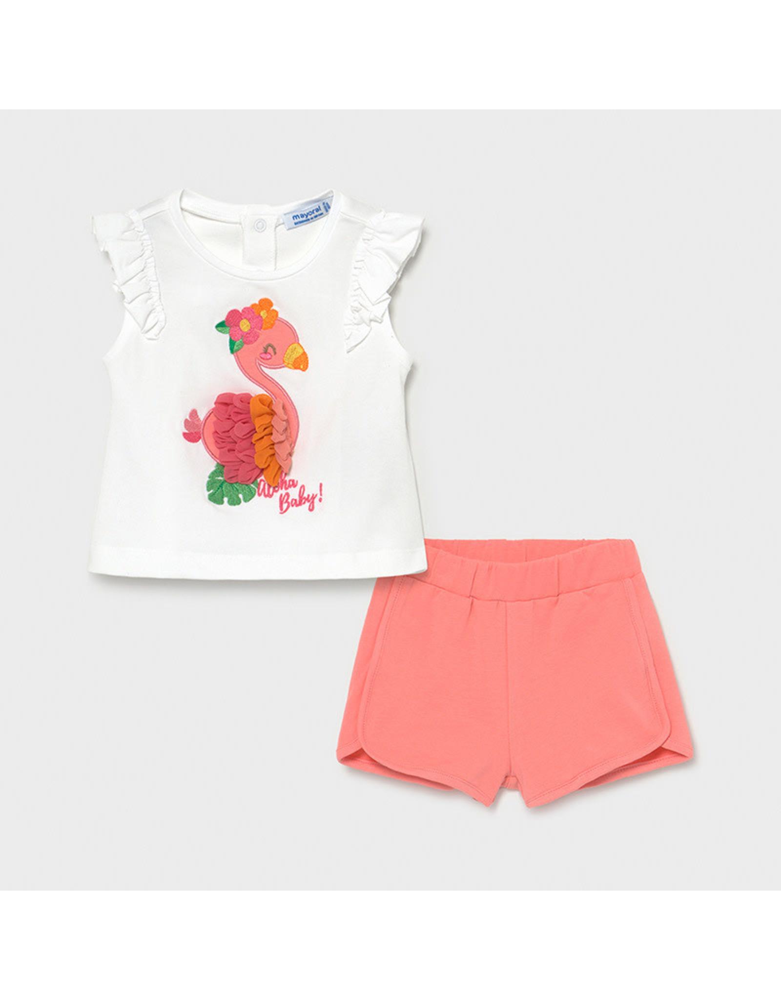 Mayoral Shorts Set with Flamingos