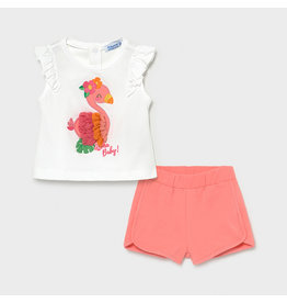 Mayoral Shorts Set with Flamingos