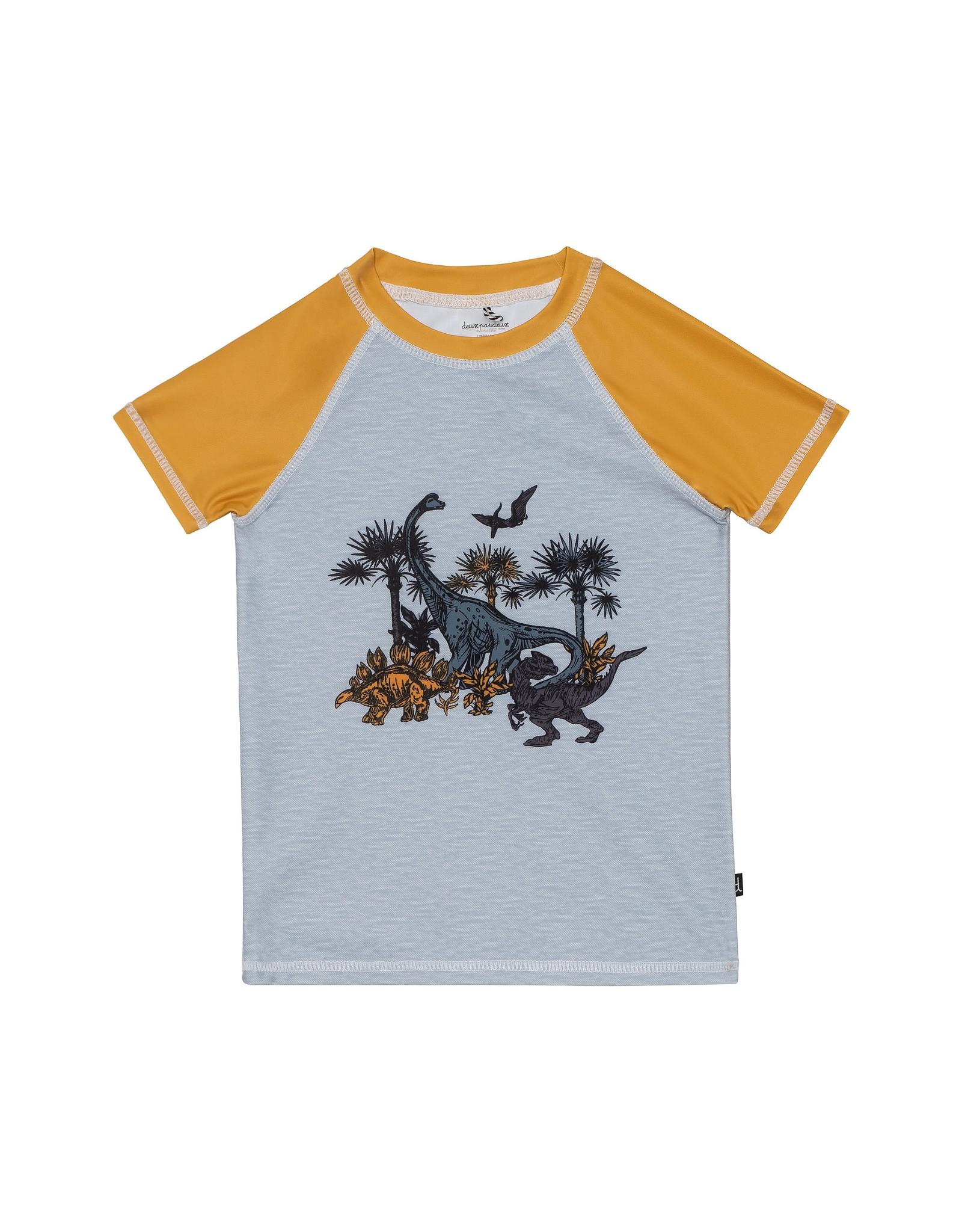 Deux Par Deux Rashguard Short Sleeve - Dinosaur