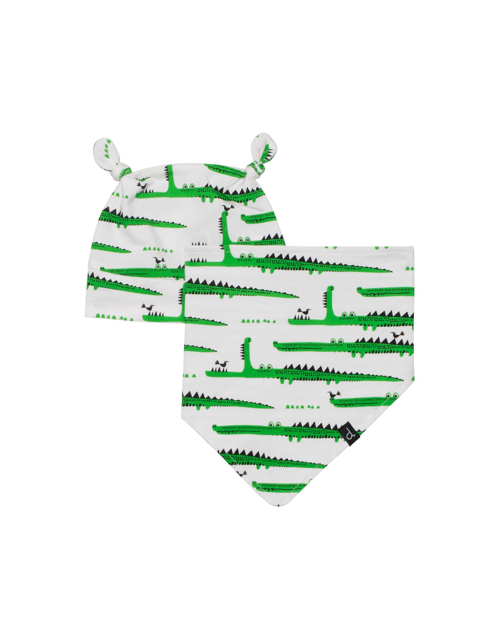 Deux Par Deux Printed Hat And Bib Set Organic Cotton - Crocodiles