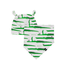 Deux Par Deux Printed Hat And Bib Set Organic Cotton - Crocodiles