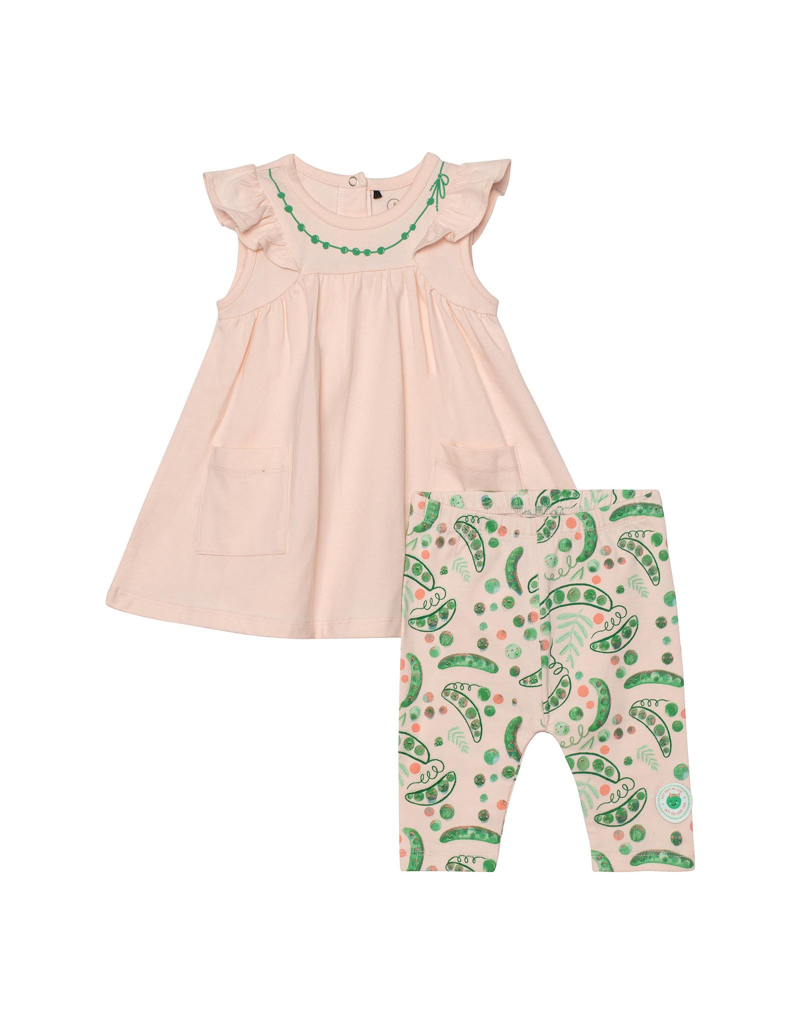 Deux Par Deux Dress and Capri Set Organic Cotton - Light Peach