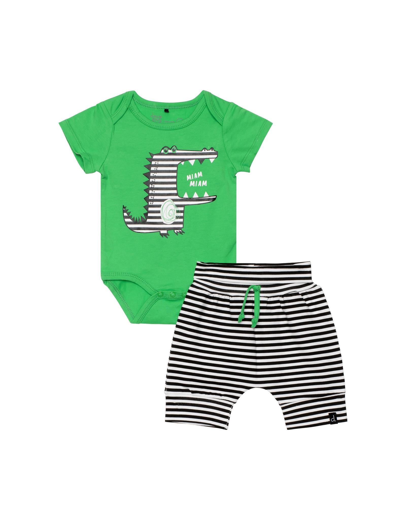 Deux Par Deux Printed Bodysuit and Evolutive Short Set - Island Green