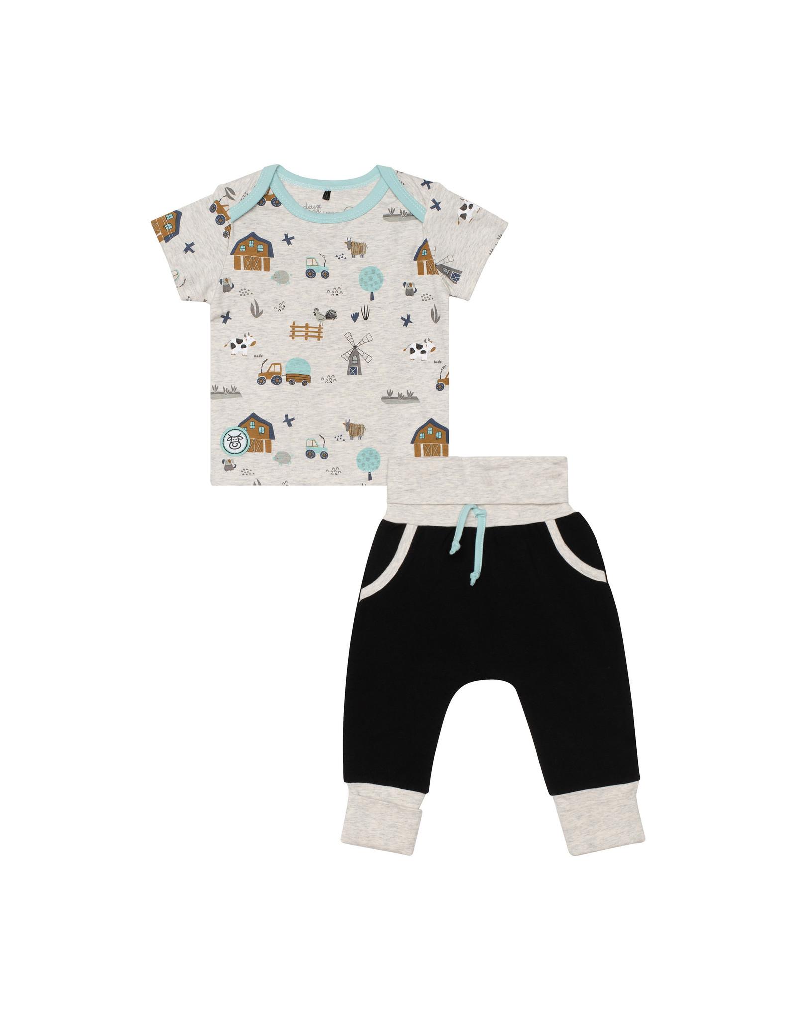 Deux Par Deux Printed Bodysuit and Evolutive Pant Set - Farm
