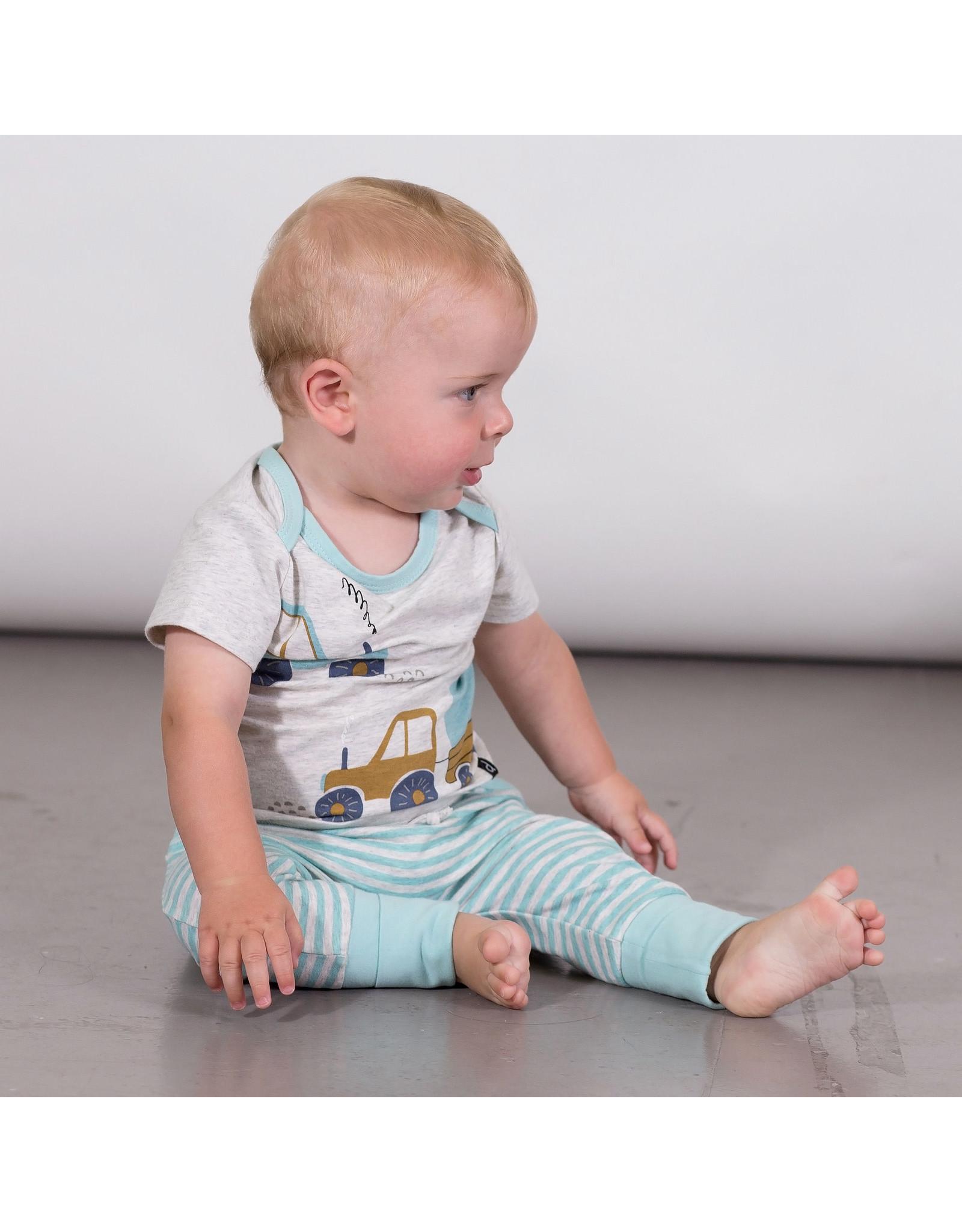 Deux Par Deux Printed Bodysuit and Evolutive Pant Set - Light Heather Grey