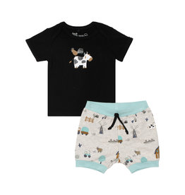 Deux Par Deux Printed Top and Short Set - Farm