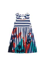 Deux Par Deux Yarm Dyed Stripe Dress with Print