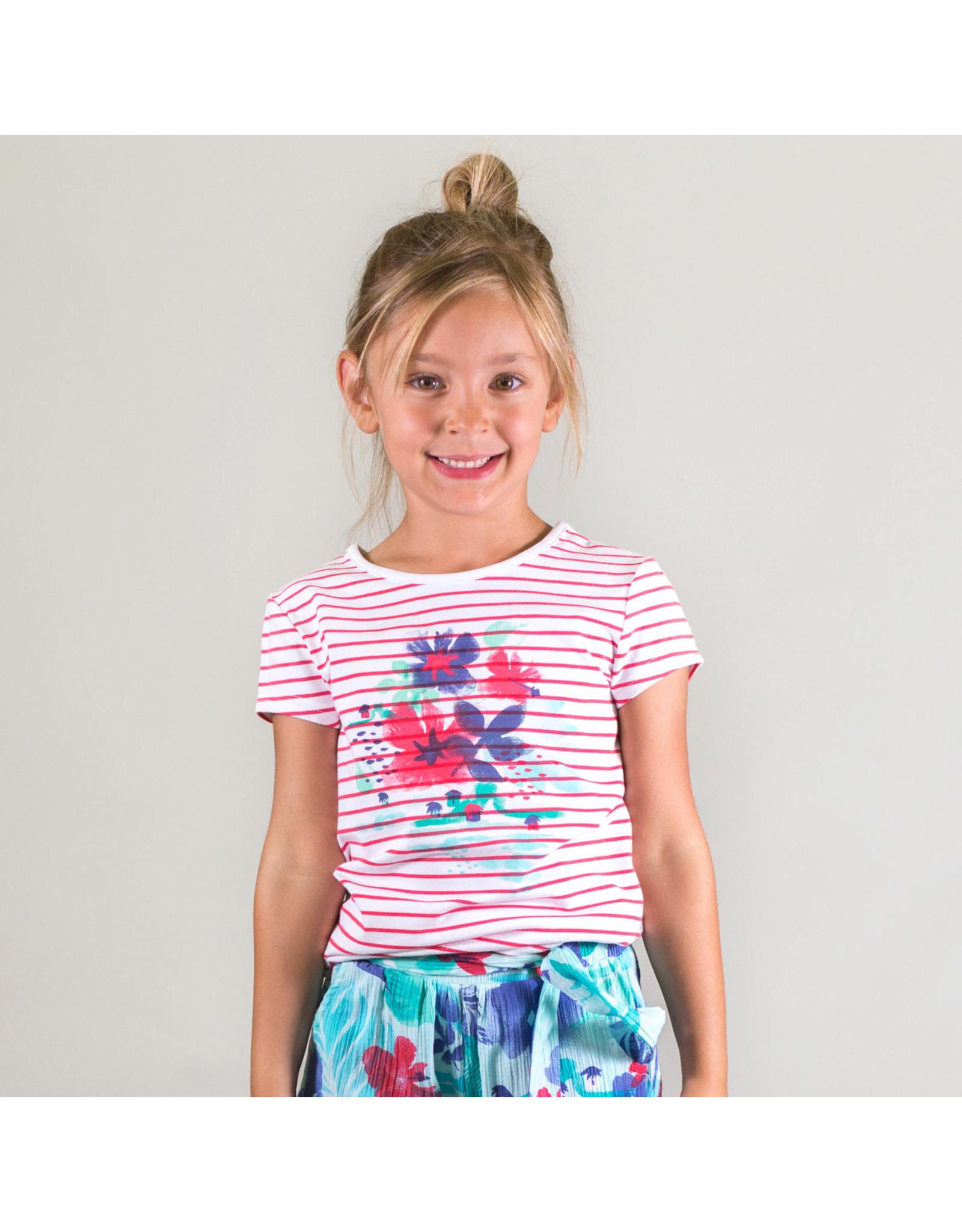 Deux Par Deux Yarn Dyed Stripe T-Shirt with Print