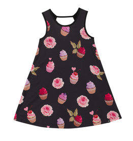 Deux Par Deux Jersey Dress with Printed Poplin