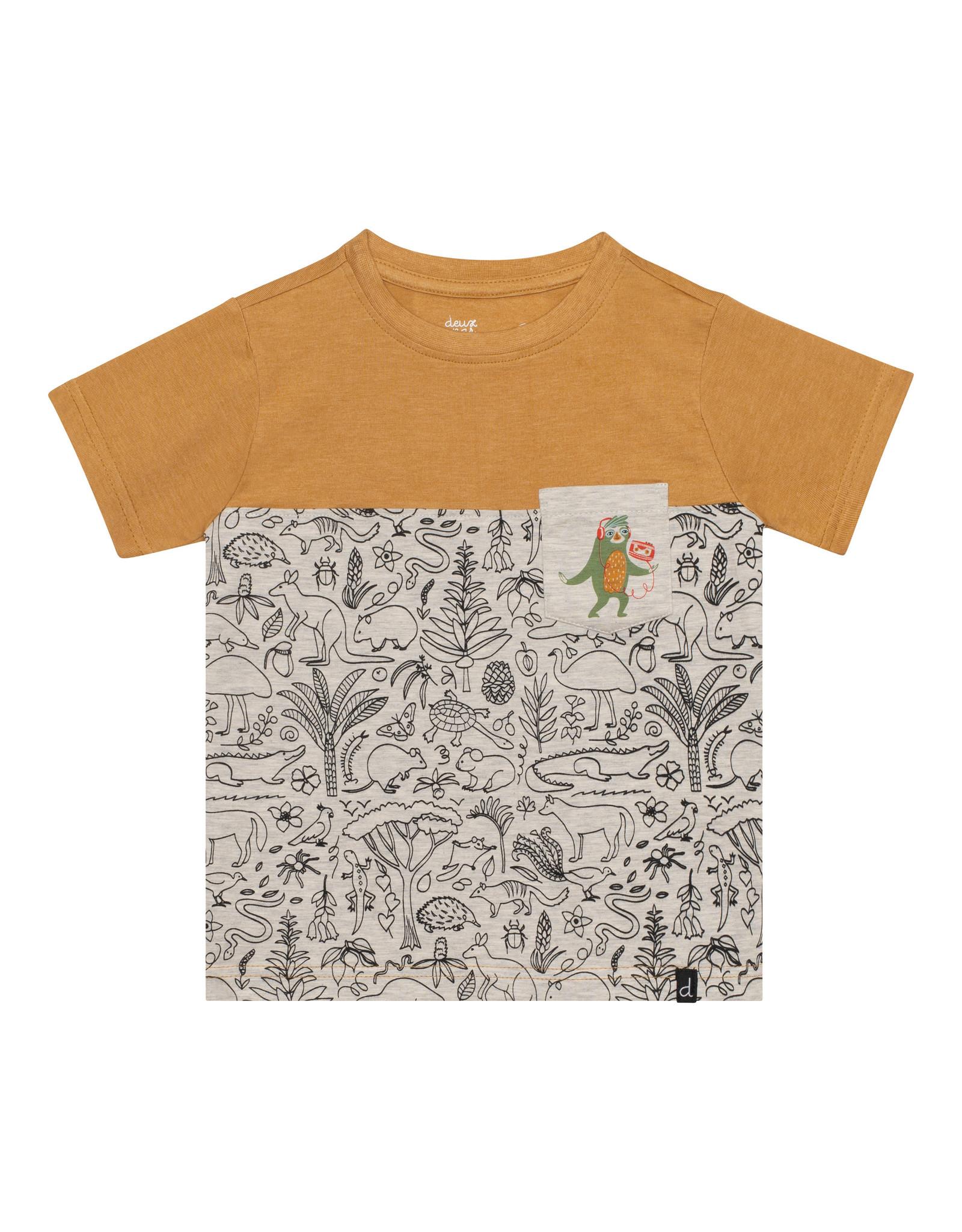 Deux Par Deux Jersey Printed T-Shirt with Pocket