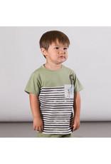 Deux Par Deux Jersey Stripe T-Shirt with Pocket - Green