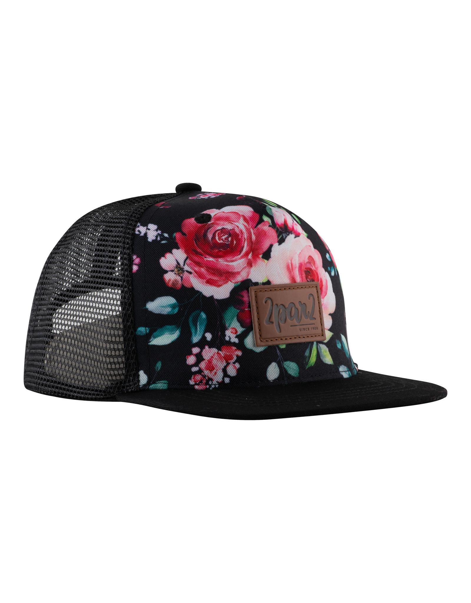 Deux Par Deux Printed Cap - Roses on Black