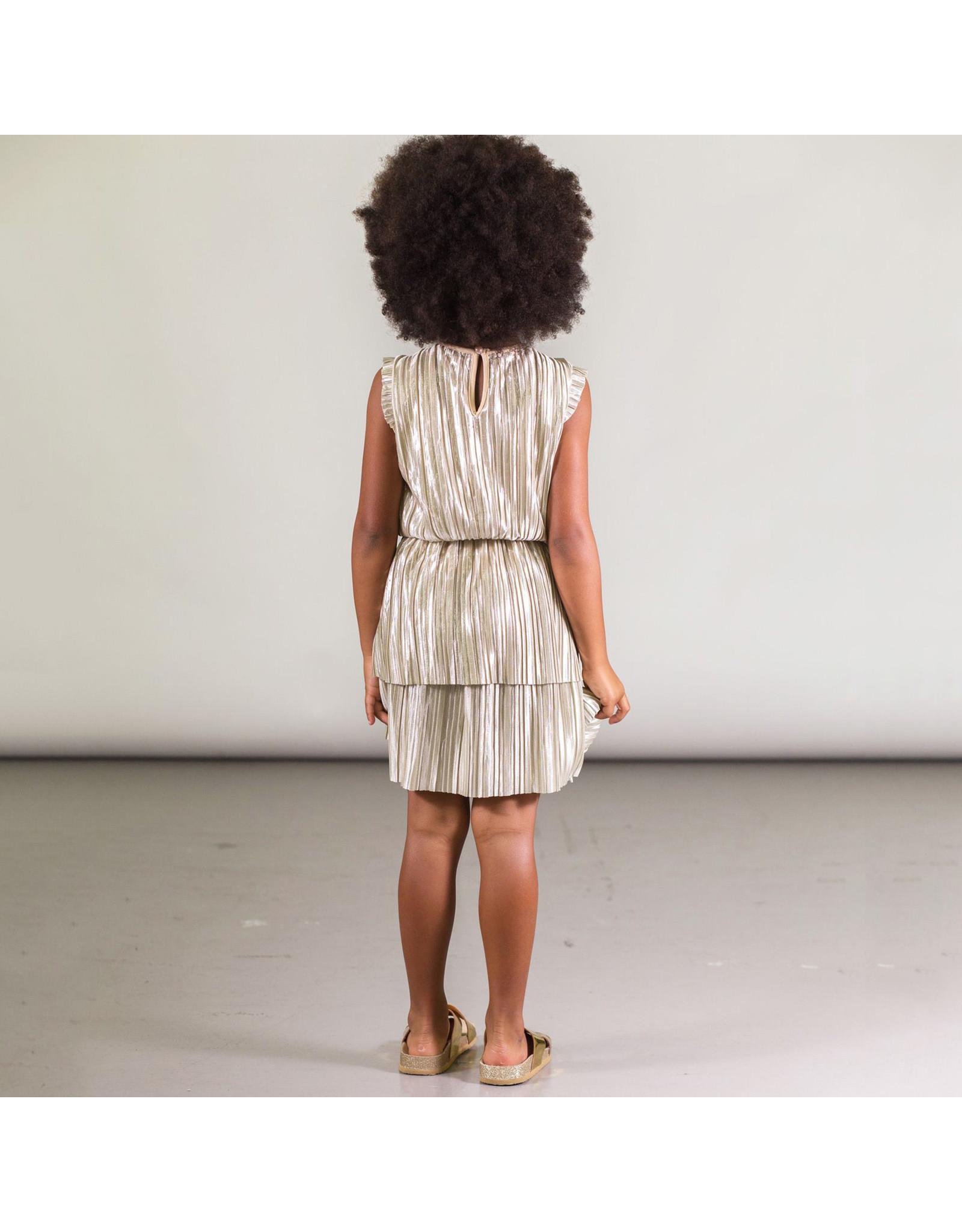 Deux Par Deux Crinkle Jersey Dress with Lurex Stripe
