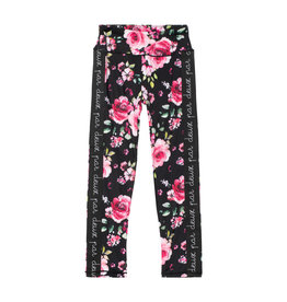 Deux Par Deux Printed Leggings wih Elastic - Roses on Black
