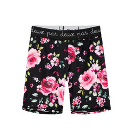 Deux Par Deux Biker Short with Elastic - Roses on Black