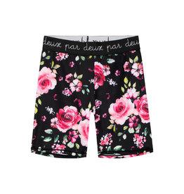 Deux Par Deux Biker Short with Elastic - Roses on Black