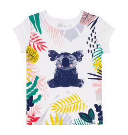 Deux Par Deux White Cotton T-Shirt with Koala Print