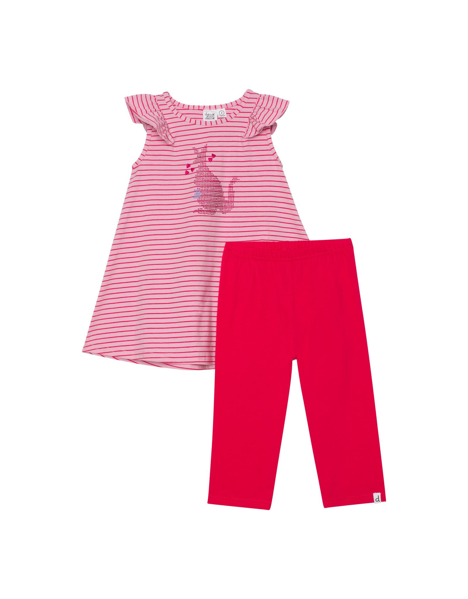 Deux Par Deux Yarn Dyed Stripe Tunic & Capri Set