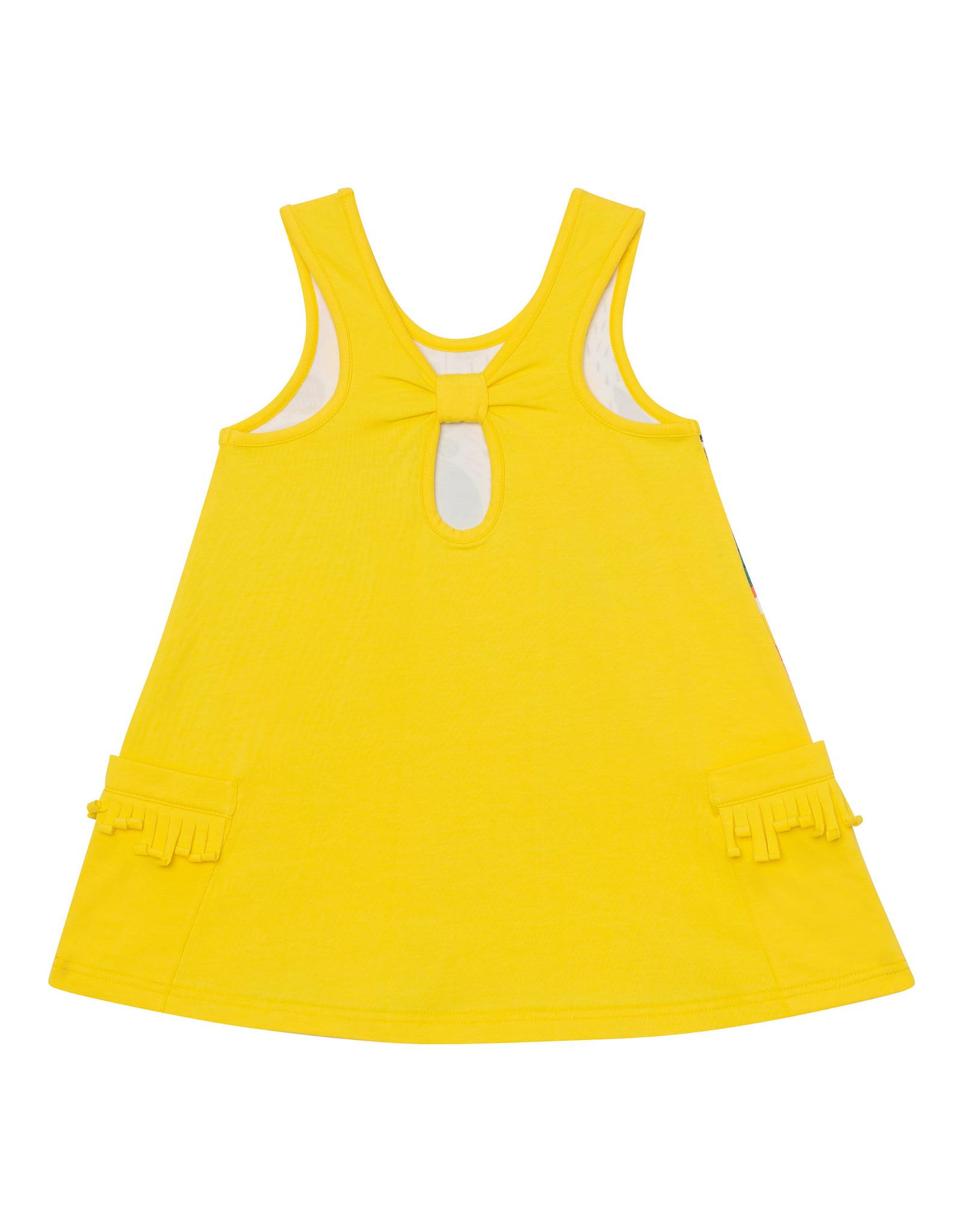 Deux Par Deux Organic Cotton Tunic with Print - Yellow