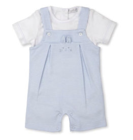 Kissy Kissy Bunny Hugs Short Overall Set - Blue