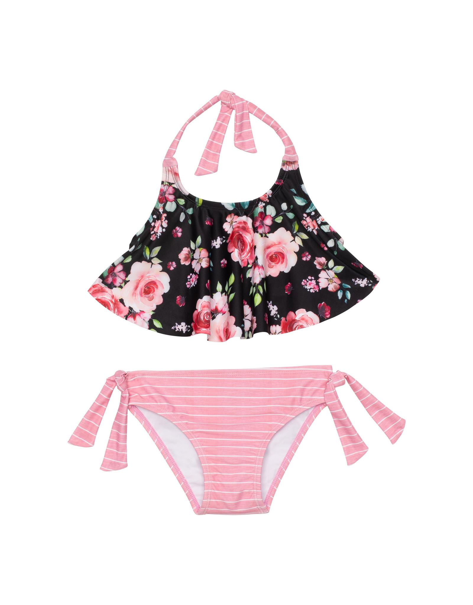 Deux Par Deux Black on Roses Swim Suit