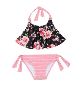 Deux Par Deux Black on Roses Swim Suit