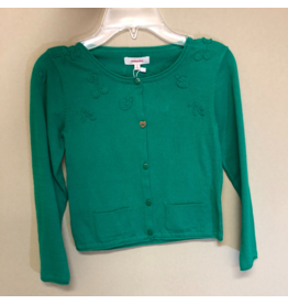 Catamini Green Cardigan with Fruit Accents (Size: 7)