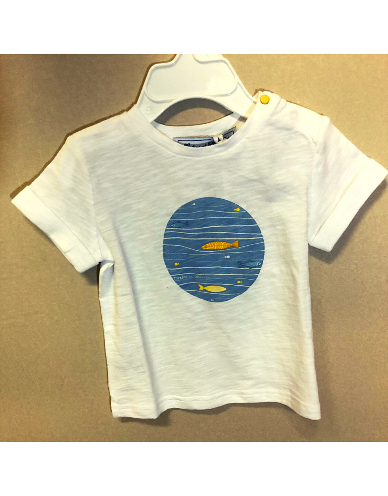 Tartine Et Chocolate Fish in Ocean T-Shirt with Cuff Sleeves