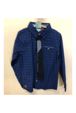 Noruk Navy Pattern Button Up with Tie