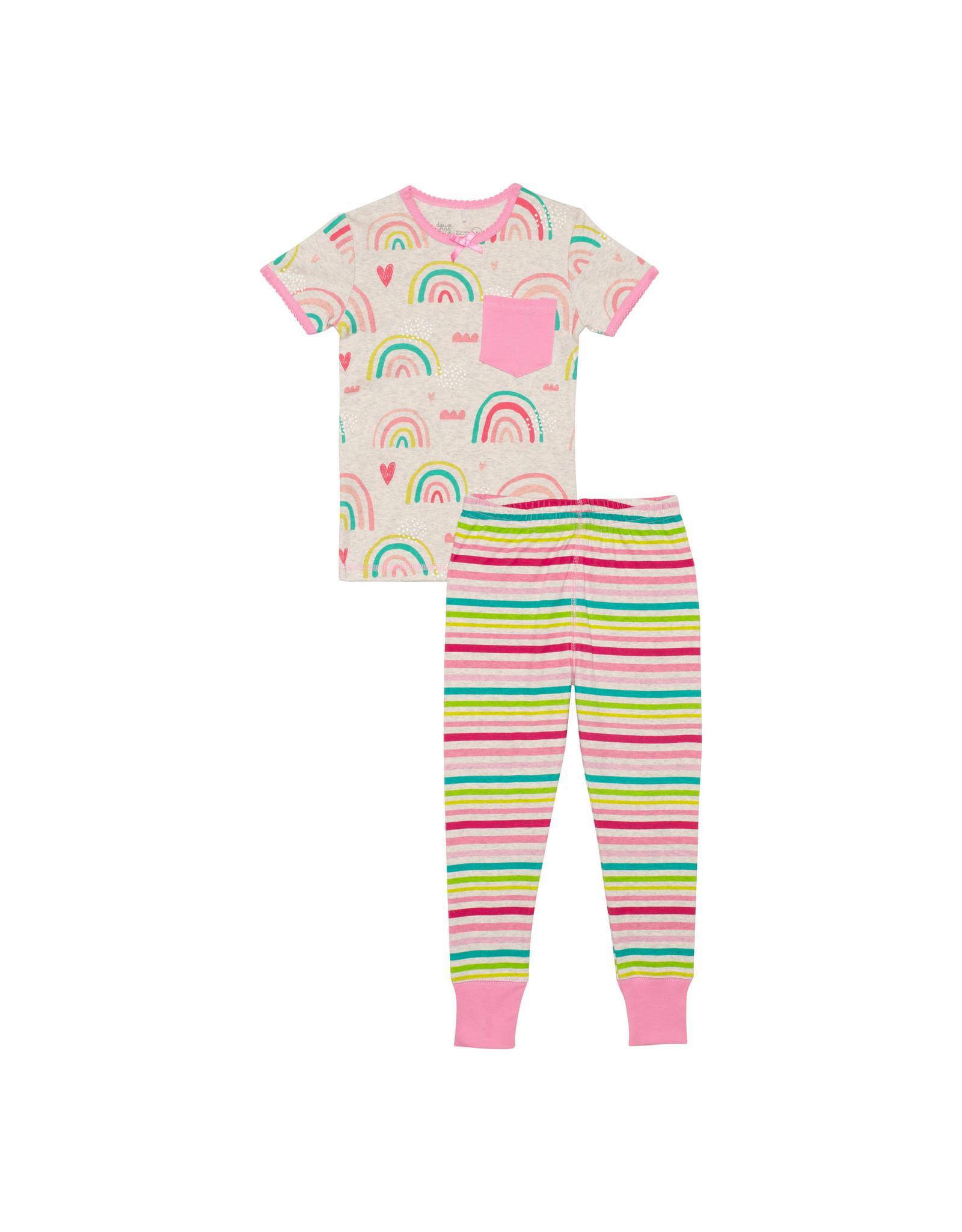 Deux Par Deux Two Pieces Pajama Set - Rainbow