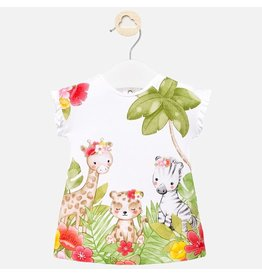 Mayoral White Jungle Print Dress