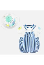 Mayoral Striped Dungaree and Hat Onesie
