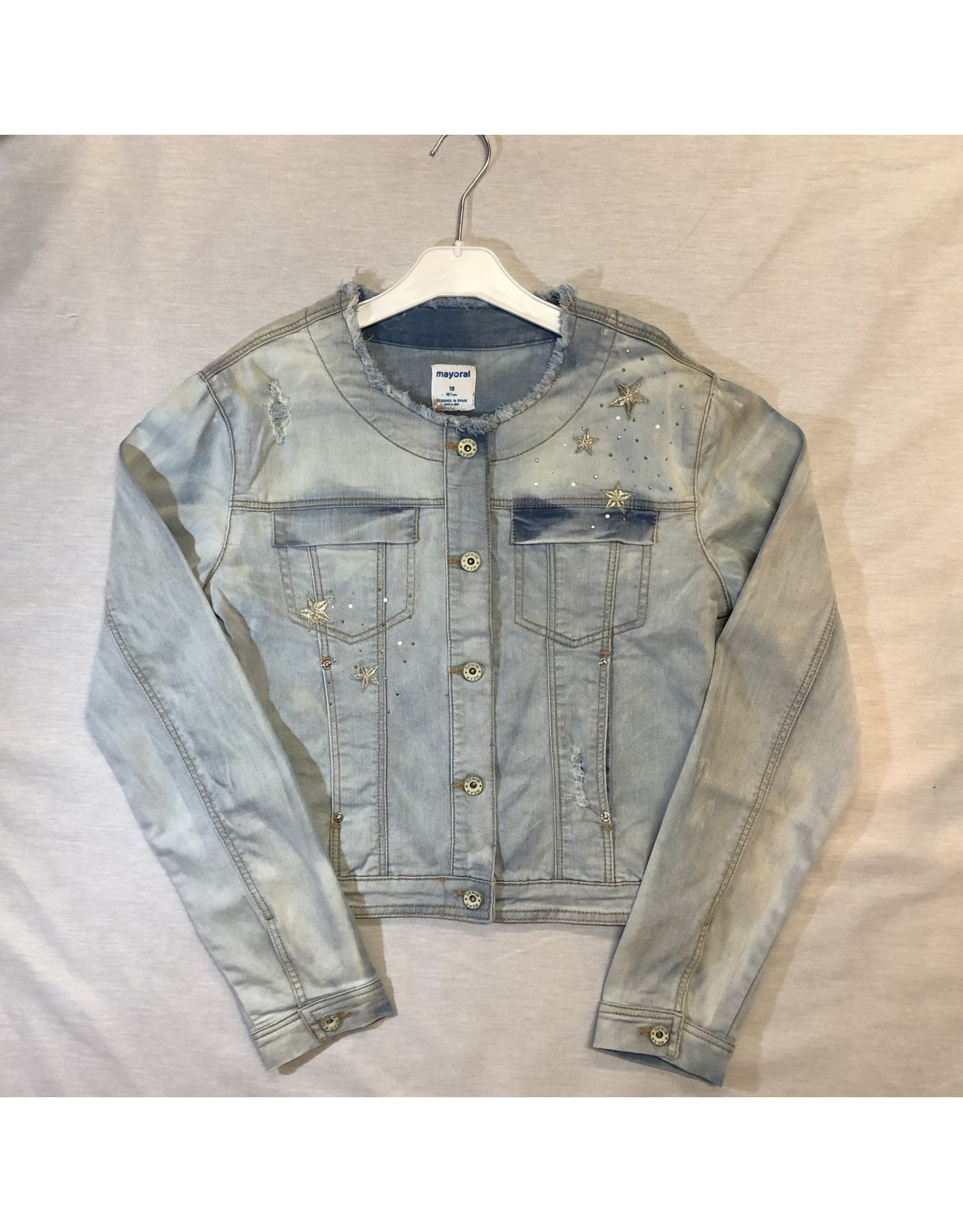 Mayoral Bleeched Denim Jacket with Accents