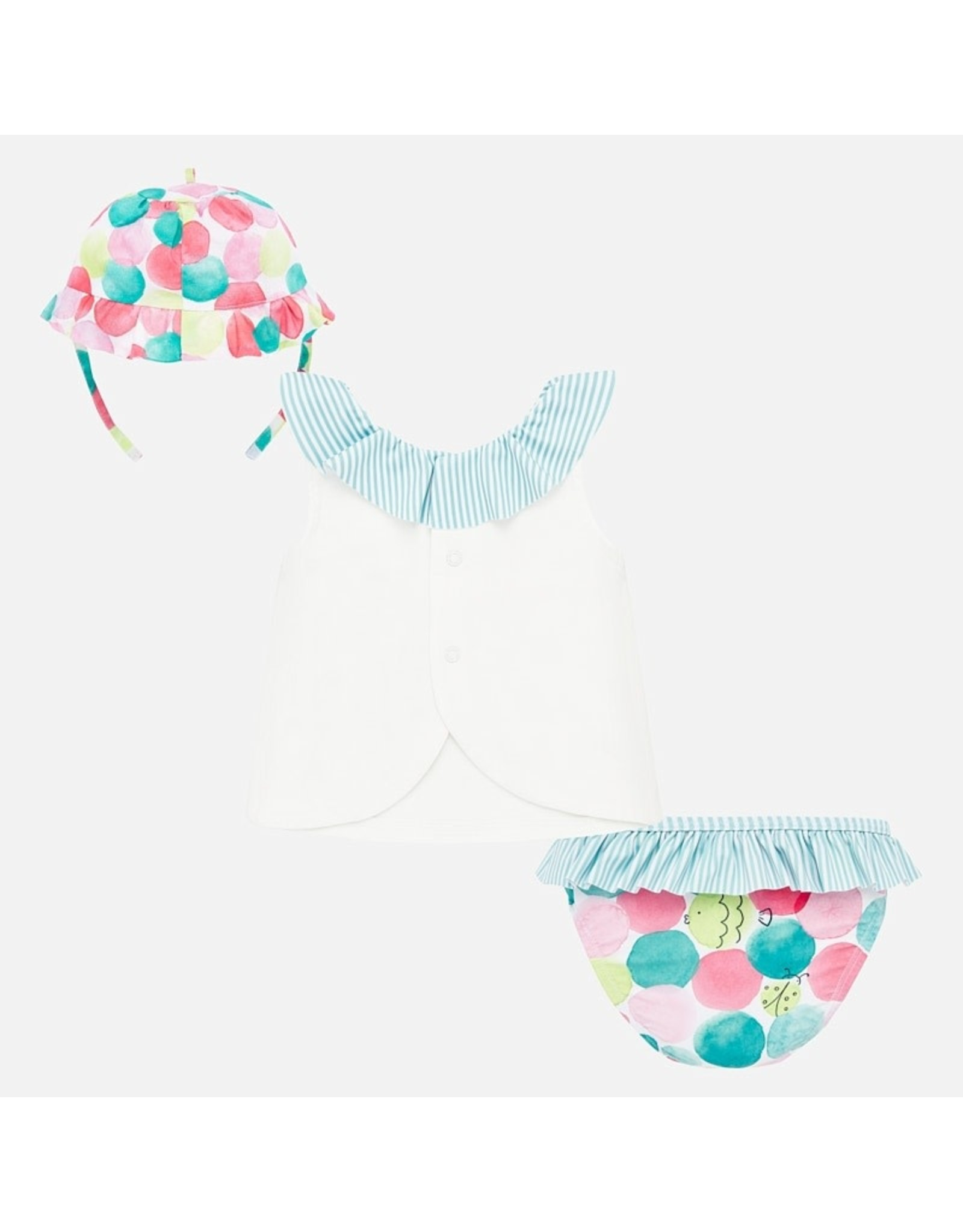 Mayoral Turquoise Bathsuit Set with Hat