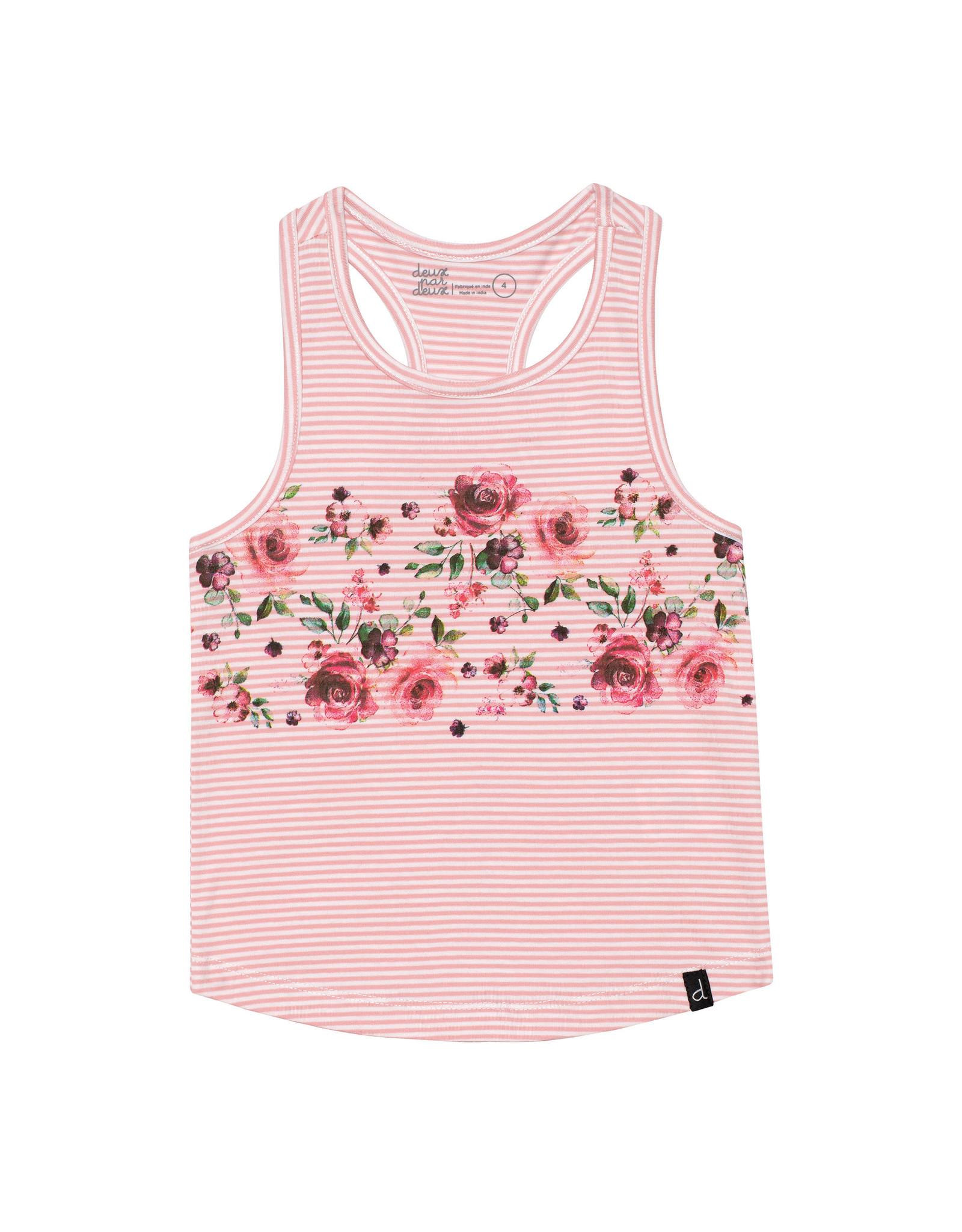 Deux Par Deux Pink Striped Tank Top with Print
