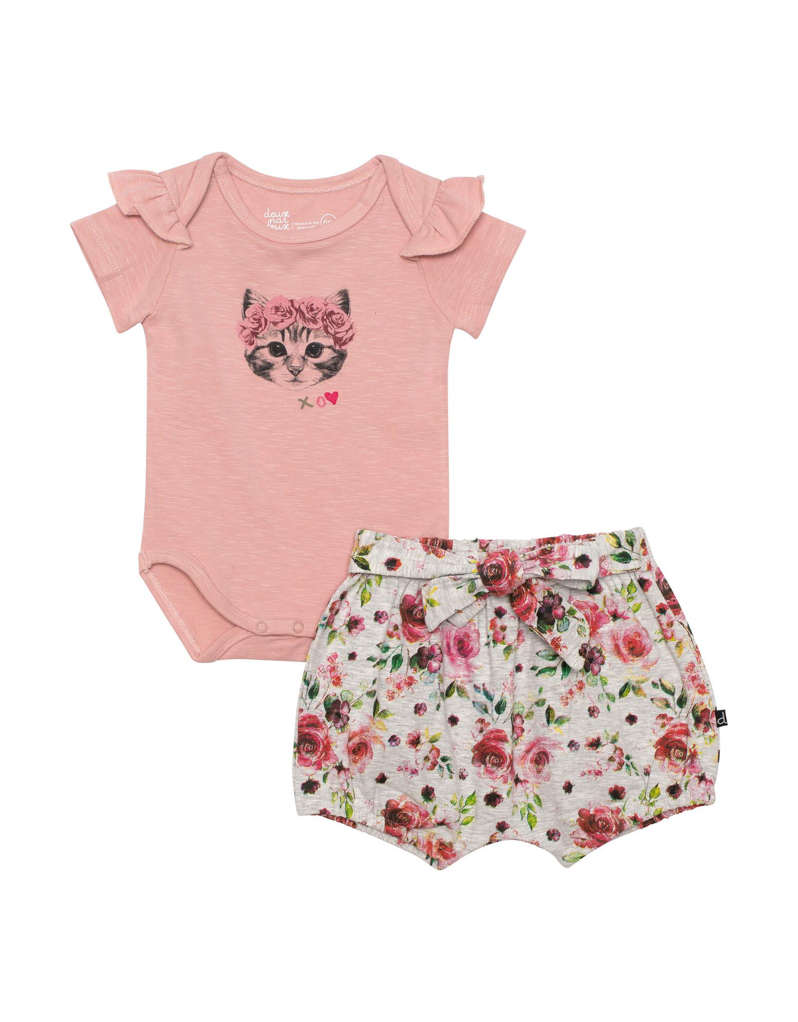 Deux Par Deux Pink Top and Floral Short Set