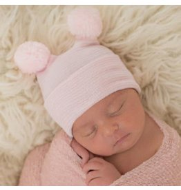 ilybean Nursery Beanie - Pink Stripe with Poms