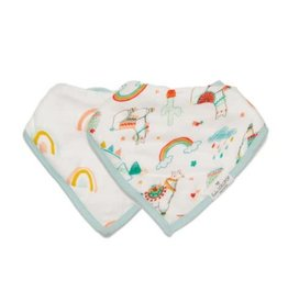 Loulou Lollipop Llama/Rainbow Bandana Bib Set