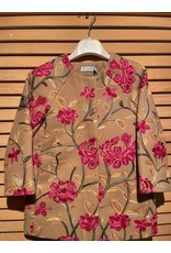 Abel & Lula Tan Peacoat with Floral Accents
