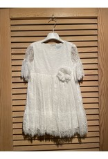 Abel & Lula White Floral Ebroidered Dress with Lace Sleeve