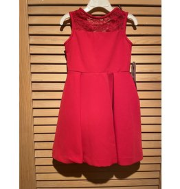 Casero Red Dress with Lace Shoulder Strap