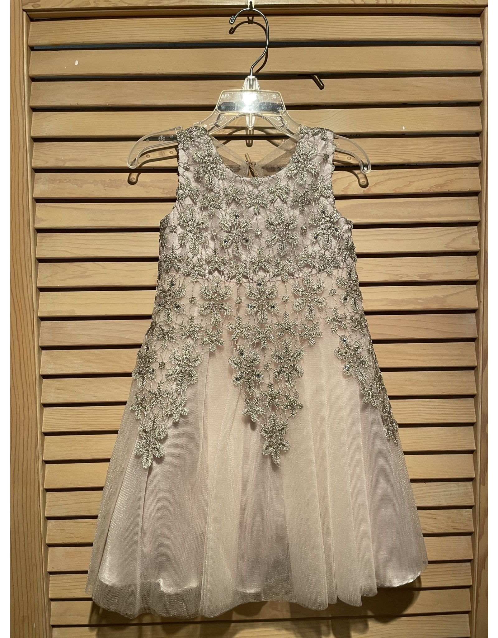 ML Couture Tule Dress with Champagne Lace Overlay