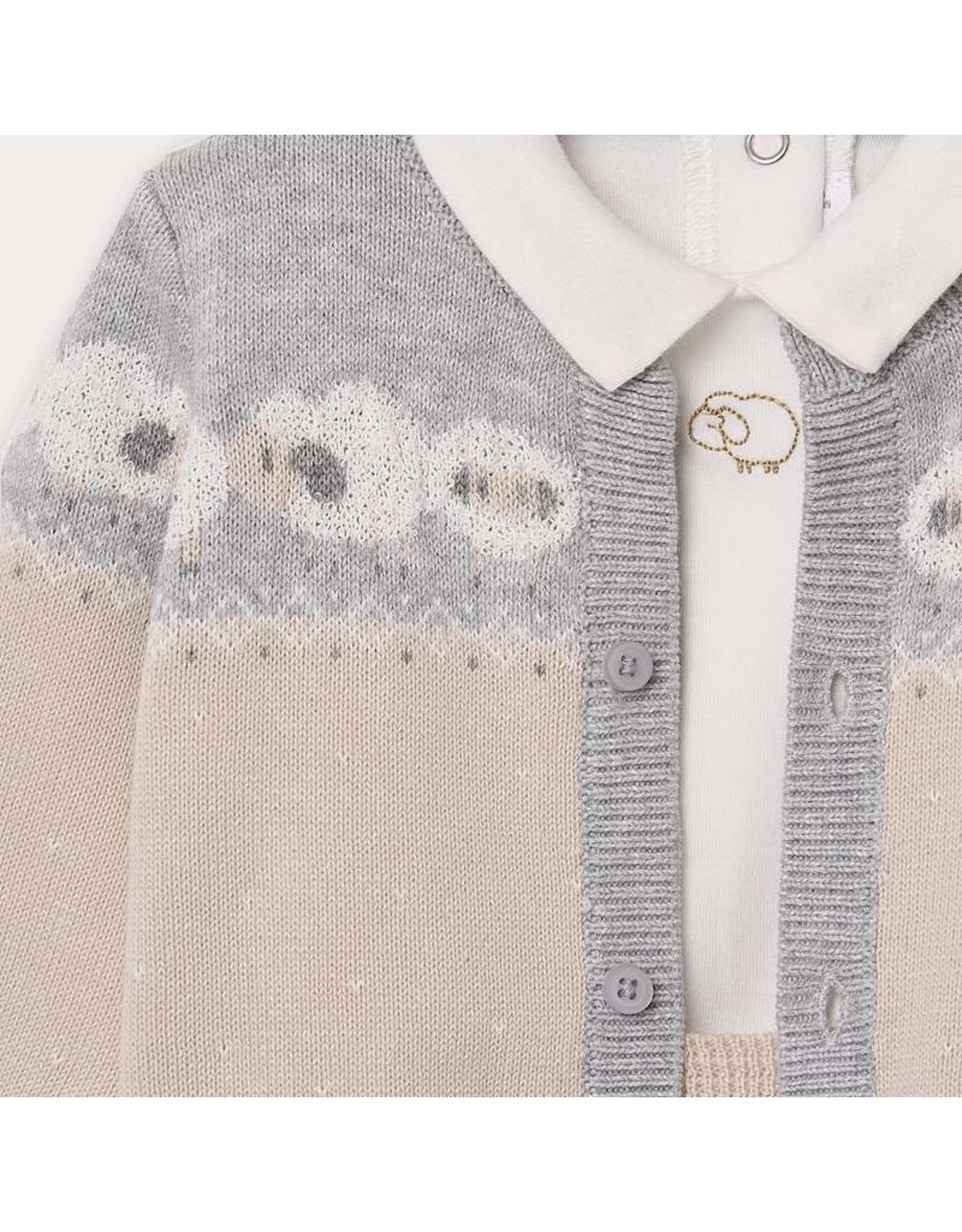 Mayoral Knit Cardigan/Onesie/Overall Set